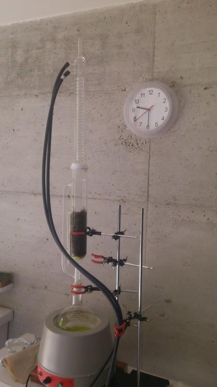 Soxhlet equipment (hay extraction).