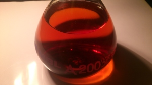 Hraceum infusion @6% after 'glaçage' and refiltration. It displays a beautiful reddish-ambery colour.